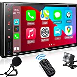 aboutBit Car Stereo with Apple Carplay: 7 Inch Double Din Bluetooth Car Radio Receiver – HD IPS Capacitive Touch Screen | Phone Link | Backup Camera | USB/SD A/V Input | AM/FM | SWC |Subwoofer