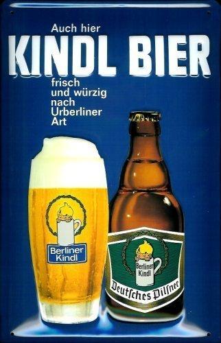 Berliner Kindl birra Targa latta Tin Sign visiera metallo 20 x 30 cm