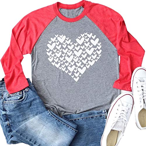 Red and gray raglan shirt with white hearts Valentine fashion ideas.