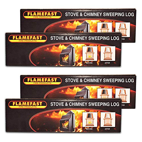 4 x Flamefast Stove & Chimney Sweeping Log Helps to Remove Soot Deposits