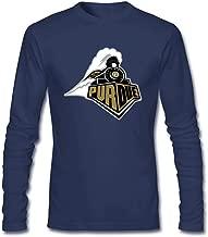 ZHENGXING Men's Purdue University Logo PU Long Sleeve T-shirt