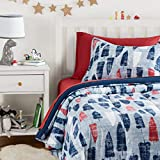 AmazonBasics Easy-Wash Microfiber Kid\s Bed-in-a-Bag Bedding Set - Twin, Red and Blue Feathers