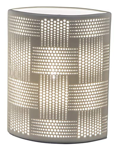 dekojohnson Porzellan-Lampe oval Harmonie Romantik Tischleuchte Nachttischlampe Nachttischleuchte Stimmungslampe Weiss 28cm