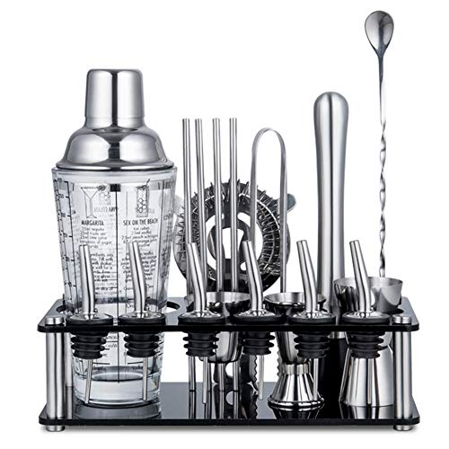 AIZYR Cocktail Shaker Stainless Steel Set with Stand, Cocktailshaker Mixer Boston Cocktail Shaker Bar Set with 6 Wine Mouth Best Gift,B