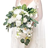 Ling's moment Artificial Flowers 11 Inch Artificial Eucalyptus Greenery White Wedding Bouquets for Bride - Wedding Ceremony Anniversary, Bridal Shower, Party and French Rustic Vintage Wedding