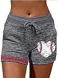 MORCHOY Womens Softball Baseball Print Shorts, Mom Shorts High Waisted, Running Workout Short for Women (Softball,S)