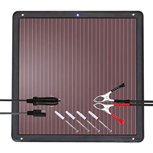 Betop-camp Solar Betriebenes Auto-Ladegerät-Bündel mit Zigarettenanzünder-Stecker und ladeclip-Linie. Geeignet für Autos, Wohnwagen und Boote (7,5 Watt), Schwarz