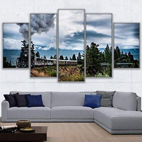 ELSFK Wall art canvas 5 Piece Wall Art Picture Countryside Train Ride Prints On Canvas Pictures For Home Modern Decoration HD Print Decor For Living Room,bedroom etc wall Decoration 150cm x 80cm