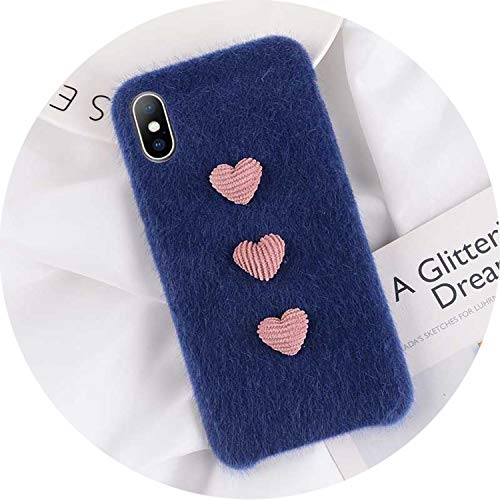 iPhone 8 7 6 6S Plus Hülle für iPhone X XR XS Max Winter Warm Pelz Cover, for iPhone 6 6s, Heart Blue