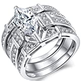 MABELLA Trio Sterling Silver CZ Marquise Wedding Ring Set Anniversary Rings for Women Size 6