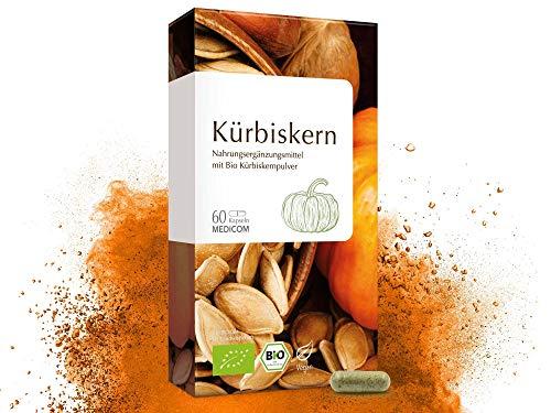 MEDICOM Bio Kürbiskern Kapseln hochdosiert - biozertifiziert - 500 mg Kürbiskernpulver des steirischen Ölkürbis pro Tagesdosis, 60 Stk.