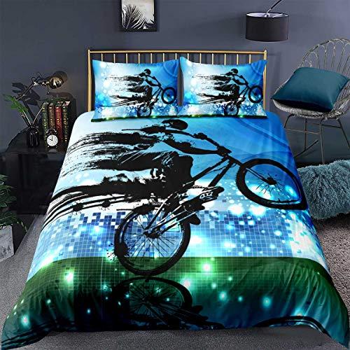Loussiesd Boys Bedding Set,Dirt Bike Sports Bmx Rider Silhouette Blue Halftone Effect Extreme Background,Decor Comforter Cover Single Size 2 Pcs (1Duvet Cover+1 Pillowcase),Zipper