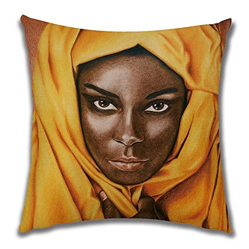 Funda de Cojín Ropa de Cama Cuadrado con la Cremallera Invisible Funda de Almohada del Sofá Decorativos para Cama Coche Hogar Mujer Bufanda Negra Sin Relleno 45x45cm