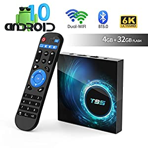 Android TV Box, TUREWELL T95 Android 10.0 Allwinner H616 Quadcore 4GB RAM 32GB ROM Mali-G31 MP2 GPU Soporte 6K 3D 1080P 2.4/5.0GHz WiFi 10/100M Ethernet BT 5.0 DLNA HDMI 2.0 H.265 Smart TV Box