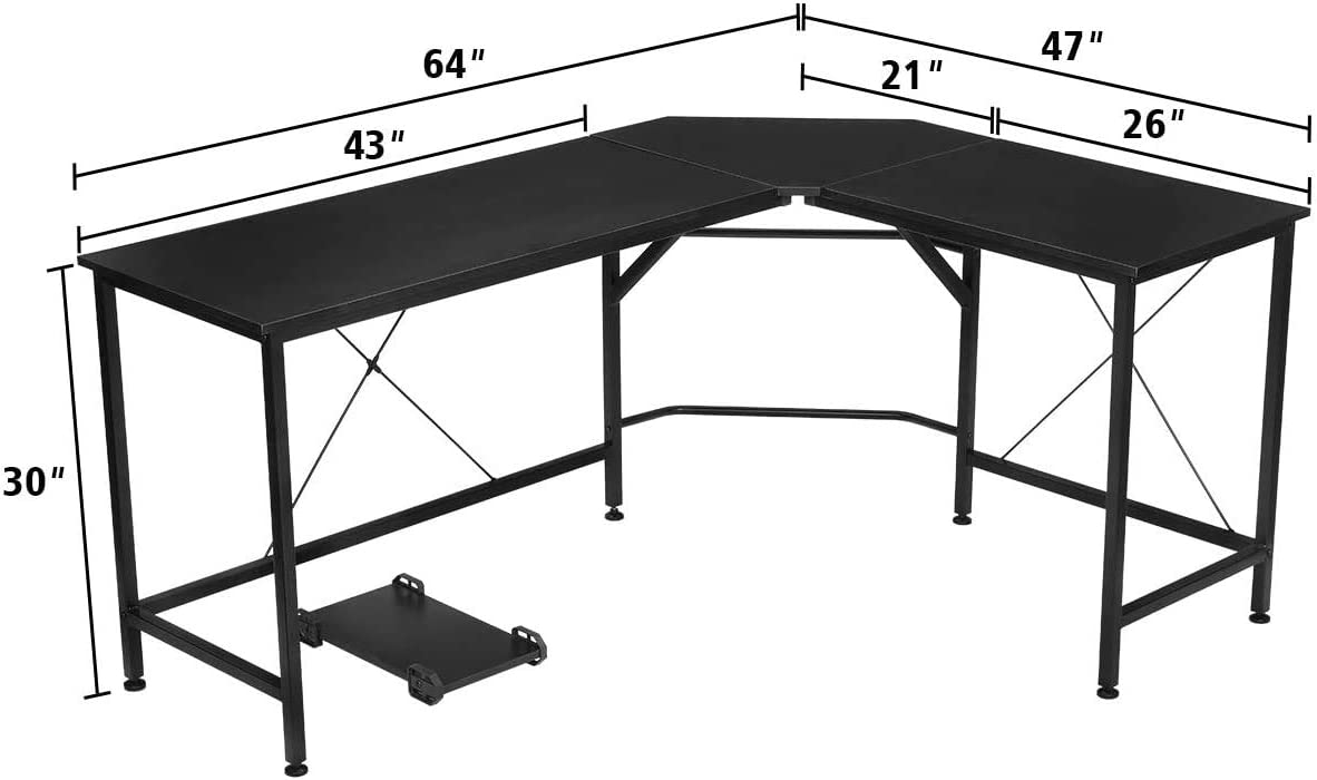 64 x 47 x 30, Black KINGSO L Shaped Computer Desk with CPU Stand,65 Modern Corner Desks for Home Office Workstation Wood /& Metal Corner Desk Laptop Writing Desk Table
