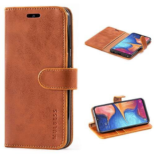 Mulbess Handyhülle für Samsung Galaxy A20e Hülle, Leder Flip Hülle Schutzhülle für Samsung Galaxy A20e Tasche, Cognac Braun