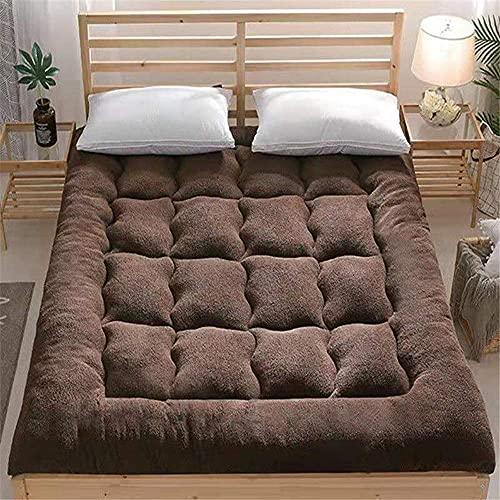 ZHTT Alfombrilla de Tatami de Cachemira de Cordero Engrosada, colchones de futón Plegables portátiles, colchón Doble de Terciopelo, Relleno de Microfibra 100%