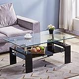 GOLDFAN Rectangulaire Table Basse Verre Trempé pour Stockage Table de Salon avec Etagère Inférieure, Design Multifonctionnelle, Noire