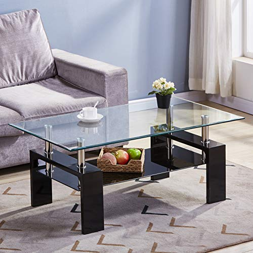GOLDFAN Table Basse en Verre Rectangulaire Noir Table Basse de Salon Design Moderne Table Basse Double avec Espace de Rangement