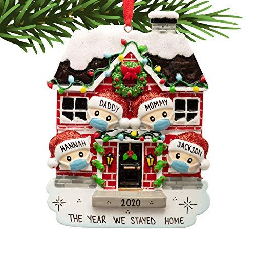 UniqXmas Family of 4 People Personalized Christmas Ornament - Free Customization | Custom Quarantine Xmas Tree Decoration | Face Mask Stay Home Covid Survived Coronavirus Pandemic Isolation Keepsake