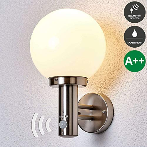 Lampenwelt Wandleuchte außen 'Nada' mit Bewegungsmelder (spritzwassergeschützt) (Modern) in Alu aus Edelstahl (1 flammig, E27, A++) - Außenlampe, Wandlampe für Outdoor & Garten Außenwand/Hauswand