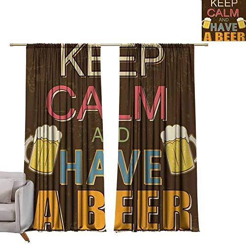 Tr.G Print patroon Gordijnen voor kamer Darkening Panels voor Woonkamer Slaapkamer Houd Kalm, Hebben een Bier Vintage Poster Ontwerp met Foamy Bril Cheers Oude Pubs en Bars,Multi kleuren