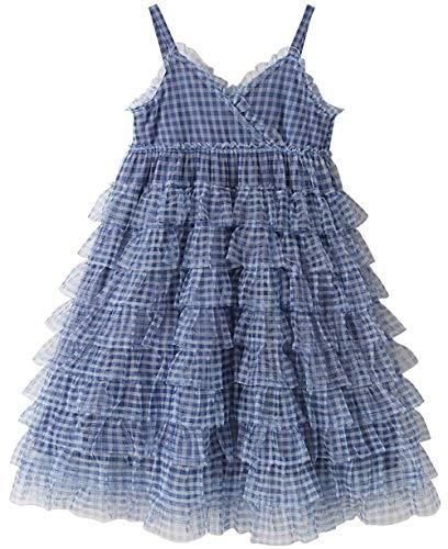 Vestidos de niñas, Estilos de Verano para niños, niñas, Faldas hinchadas, Faldas de Princesa Blue- 120cm