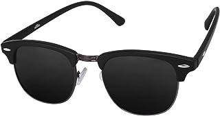 Silver Kartz Gun-Metal Clubmaster Wayfarer Unisex Sunglasses (wy032|40|Black)