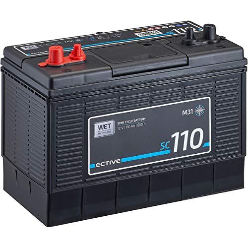 ECTIVE 12V 110Ah Marine Nass-Batterie Semi Cycle-Serie Boot Versorgungsbatterie SC110 wartungsfrei