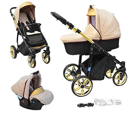 Skyline 3in1 Kombi Kinderwagen mit einem Aluminium Gestell, Babywanne, Sport Buggyaufsatz und Babyschale (ISOFIX) (Beige&Gold)