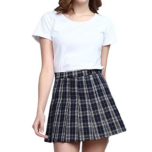 FeMereina Falda Plisada de Niña para Mujer, Uniforme Falda Plisada Cintura Alta con Banda Elástica Cómoda, Falda Corta para Escuela De Tenis, Disfraces Lindos (Cuadros Azules-Poliéster, XL)