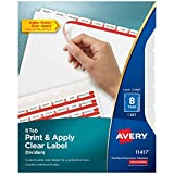Avery 8-Tab Binder Dividers, Easy Print & Apply Clear Label Strip, Index Maker, White Tabs, 1 Set (11417)