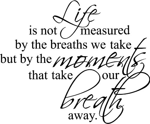 23'x28' Life is not Measure by The Breaths we take but by The Moments That take Our Breath Away Wall Art Vinyl Decals Letters Home Love Decor