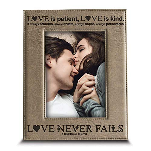 Bella Busta -Love Never Fails-1 Corinthians (bible verse)-Anniversary for Her, Him-Valentines Day- Engraved Leather Picture Frame (5 x 7 Vertical)