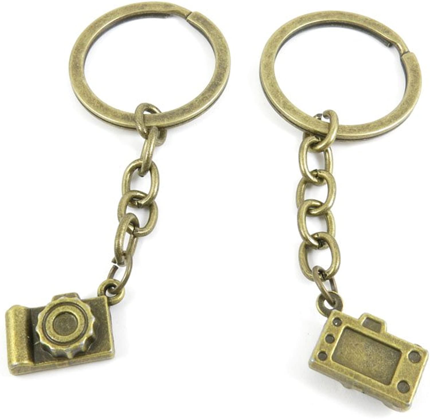 100 PCS Keyrings Keychains Key Ring Chains Tags Jewelry Findings Clasps Buckles Supplies Y3FP6 Camera