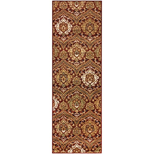 "Superior Designer Augusta Collection Area Rug, 8mm Pile Height with Jute Backing, Beautiful Floral Scalloped Pattern, Anti-Static, Water-Repellent Rugs - Red, 2'7"" x 8' Runner Rug"