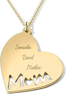 14K Gold Mom's Heart Engravable Necklace by JEWLR