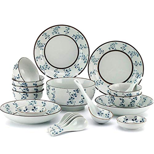 KELITINAus Set Di Cena in Ceramica da 20 Pezzi per 4 Persone Blue Flower Stampato Sottopiede in Porcellana in Porcellana Set da Tavola