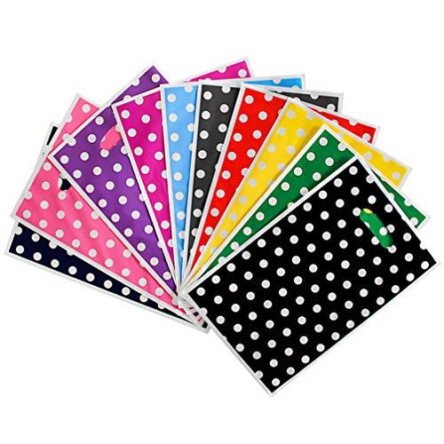 NUOBESTY Bolsas de Mercancía de 100 Piezas con Asas Troqueladas Bolsas de Compras Minoristas Bolsas de Plástico Bolsa de Regalo para Paquete de Tienda de Fiesta Color Mezclado