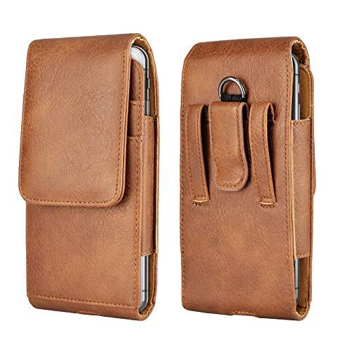 Tiflook Leder Gürteltasche mit Clip für iPhone 12 Pro Max 11 XS XR X 8 7 Samsung Note 20 S20 S10 S9 A71 A51 A20 Moto G Fast G Power LG Stylo 5 G8 ThinQ Holster Handy Tasche Gürtelhalter Braun