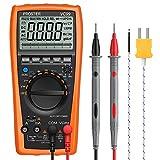 Proster Auto Rango Multímetro Digital 6000 Cuentas y 2000uF Digital Multímetros Amp/Ohm/Voltímetro Multi Tester con la Prueba de la Capacitancia y Medición de Temperatura