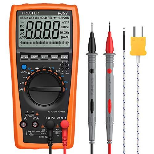 Proster Multímetro Digital Rango Automático 6000 Cuentas y 2000uF Voltímetro con Cable de Prueba Polímetro Multi Tester con Sonda de Tipo K para Medir la Capatancia Temperatura Voltaje
