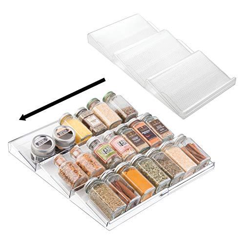 mDesign Juego de 2 estanterías para Botes de Especias Especial para cajón – práctico Accesorio de Cocina para organizar Especias – Especiero con 3 Niveles – Color: Transparente