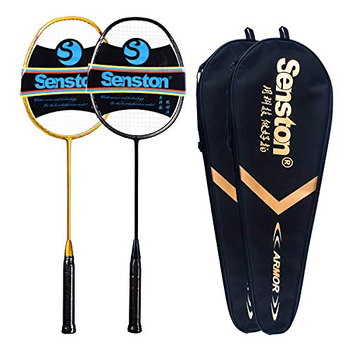 Senston N80 Graphite High-Grade Badminton Racquet,Professional Carbon Fiber Badminton Racket Included Black Gold Color Rackets 2 Carrying Bag