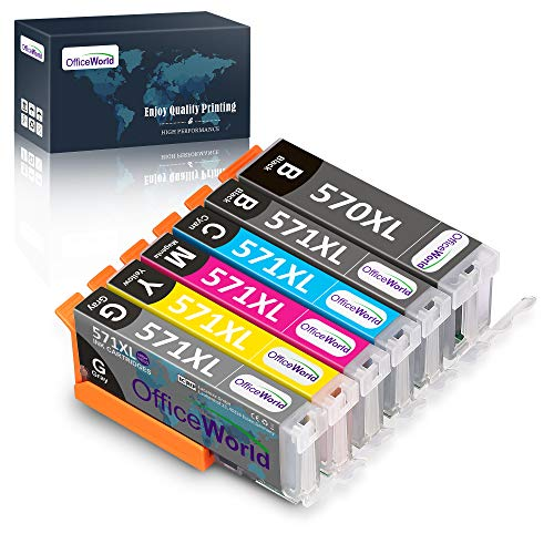 OfficeWorld Ersatz für Canon PGI-570XL CLI-571XL Druckerpatronen (1GY, 1PGBK, 1BK, 1C, 1M, 1Y) Hohe Kapazität Kompatibel für Canon PIXMA TS8050 MG7700 MG7750 (NOT 7550) MG7751 MG7752 MG7753 TS8051