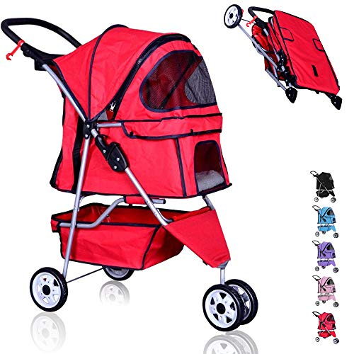 Pet Stroller for Small Medium Dog Stroller Cat Stroller 3 Wheel with Removable Liner,Cup Holder,Storage Ventilation,Easy Fold,Travel,35Lbs Capacity,Red