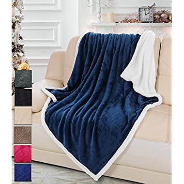 Sherpa/Plush Throw Blanket for Couch Sofa 50x60 inches, Mink Fleece Throw Reversible for All Season Use, Super Soft Comfy TV Blanket for Adults Men Women Kids Blue