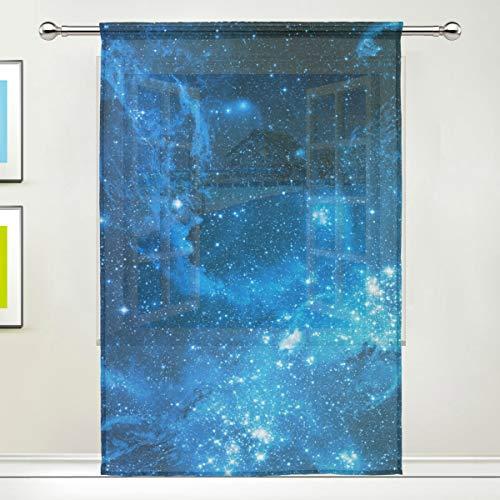ALARGE Durchscheinender Vorhang für Fenster, Universum, Weltraum, Galaxie, Nebel, Voile-Vorhang für Küche, Wohnzimmer, Schlafzimmer, 140 x 200 cm lang, 1 Stück