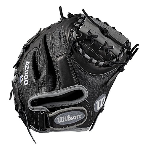Wilson A2000 34-Inch SuperSkin Baseball Glove, Black Silver, Left (Right Hand Throw)
