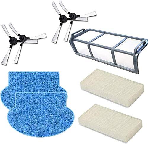 Zealing 2*Chiffon de Nettoyage Pads+4*Brosse latérale+2*Filtres HEPA+1*pré-filtre,pour AMIBOT Pure, Pulse & Prime